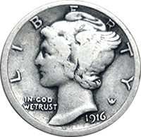 1916 Mercury Dime Value Cointrackers