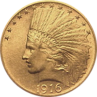 1916 S Indian Head Gold Eagle