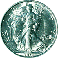 1917 S Walking Liberty Half Dollar