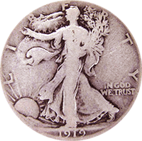 1919 S Walking Liberty Half Dollar