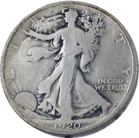 1920 S Walking Liberty Half Dollar