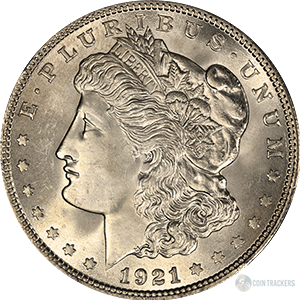 CoinTrackers.com has estimated the 1921 Morgan Silver Dollar Value