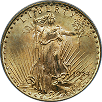 1924 D St Gaudens Double Eagle