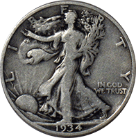 1934 S Walking Liberty Half Dollar