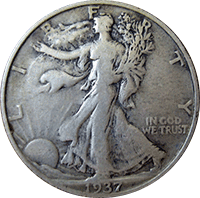 1937 S Walking Liberty Half Dollar