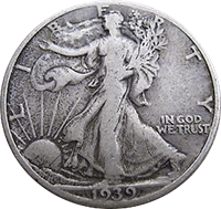 1939 S Walking Liberty Half Dollar Value Cointrackers