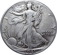 1941 S Walking Liberty Half Dollar