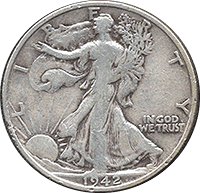 1942 S Walking Liberty Half Dollar