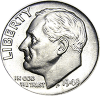 1948S Roosevelt Dime circulated