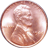 USA Coins ▶ KM# 132 Penny for 1948d 1 cent US Lincoln Cent