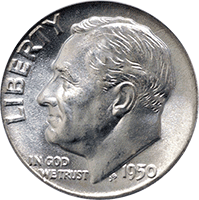 1950 Roosevelt Dime Value