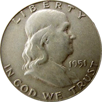 1951 Ben Franklin Half Dollar
