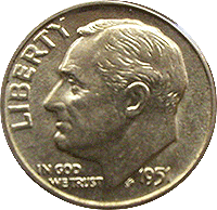 1951 Roosevelt Dime Value Cointrackers
