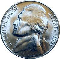 1951-S Jefferson Nickel Circulated