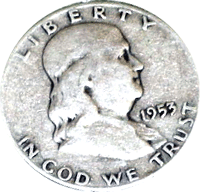 1953 D Ben Franklin Half Dollar