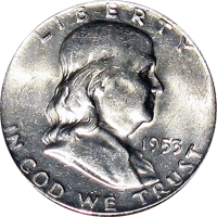 1953 S Ben Franklin Half Dollar