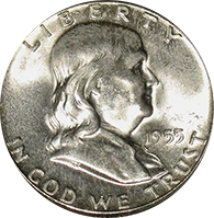 1955 Ben Franklin Half Dollar