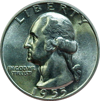1955 D Washington Quarter