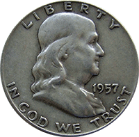 1957 Ben Franklin Half Dollar