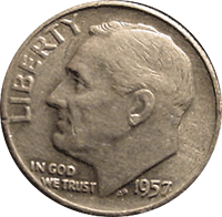 1957 D Roosevelt Dime Value Cointrackers