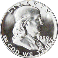1959 Ben Franklin Half Dollar