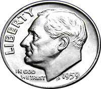 1959 Roosevelt Dime Value