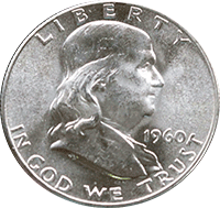 1960 Ben Franklin Half Dollar
