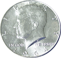 1964 D Kennedy Silver Half Dollar ~ U.S Coin from Bank Roll