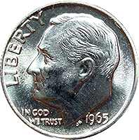 1965 Roosevelt Dime Value
