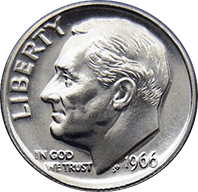 1966 Roosevelt Dime Value | CoinTrackers