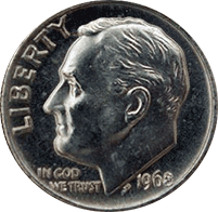1968 Roosevelt Dime Value