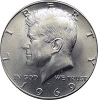 1969 Kennedy Half Dollar BU