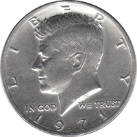 Condition UNC 1971 US Kennedy D Half Dollar in Almost Uncirculated