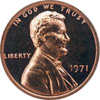 1971 S Lincoln Penny Proof