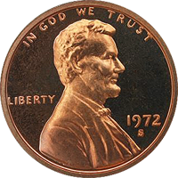 1972 S Lincoln Penny Proof