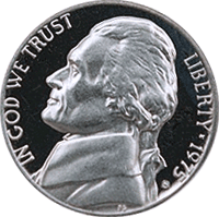 1975 S Jefferson Nickel Proof