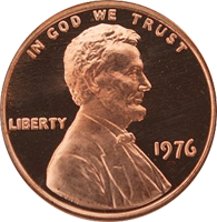 1976 S Lincoln Penny Proof