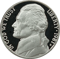 1981 P Jefferson Nickel
