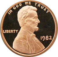 1982 S Lincoln Penny Proof