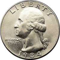 1984 D Washington Quarter