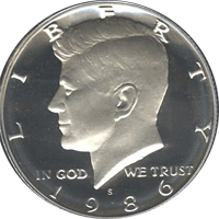 1986 S Kennedy Half Dollar Proof