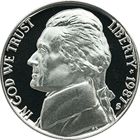 1987 P Jefferson Nickel
