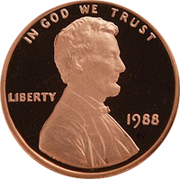 1988 S Lincoln Penny Proof