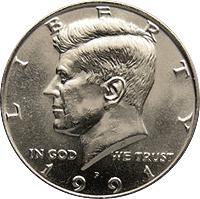 1991-P Kennedy Half Dollar Circulated but NICE !