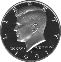 1991 S Kennedy Half Dollar Proof