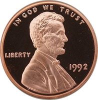 1992 S Lincoln Penny Proof