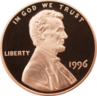 1996 S Lincoln Penny Proof