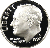 1997 S Roosevelt Dime Proof