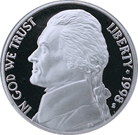 1998 P Jefferson Nickel