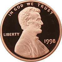 1998 S Lincoln Penny Proof